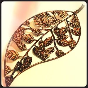 """Large Copper Leaf Made w/ Smaller Leaves 7"""" x 17"""""""